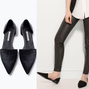 ZARA Black Calf Fur Hair D'Orsay Pointed Flats
